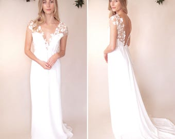 SALE - VICTORIA - Bridal Gown - backless with cap sleeves and full chiffon train - Bespoke