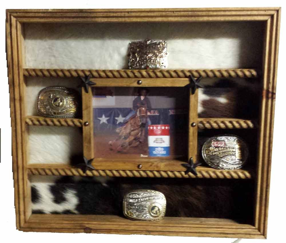 Belt Buckle Display Case With 8x10 Picture Frame Trophy