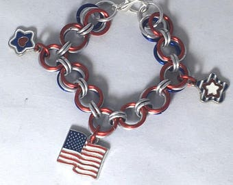 Red White Blue Silver Patriotic Bracelet - Red White Blue Chain Mail Bracelet -Chain Mail Bracelet - USA Flag Bracelet - Red White Blue