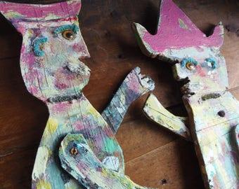 valentine art doll,  vintage folk art, love puppets, dutch boy dutch girl, art populaire, wood cut out, assemblage art, man woman sculpture