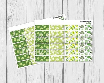 24 Planner Stickers Washi St Patrick's Day Planner Stickers March Planner Stickers Clover Leaf Stickers eclp PS370g