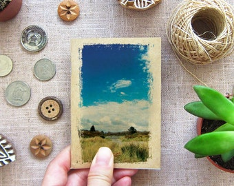 Small Gift - Nature Mini Notebook Blue Sky 44. Mini Travelling Notebook in your Pocket - WestPort New Zealand
