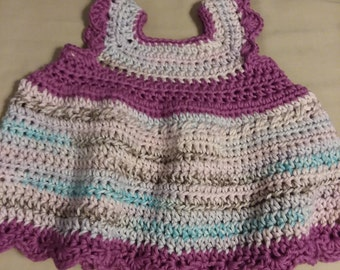 Cotton dress, crocheted cotton dress, 0 to 3 month dress, handmade, hand crocheted, baby dress