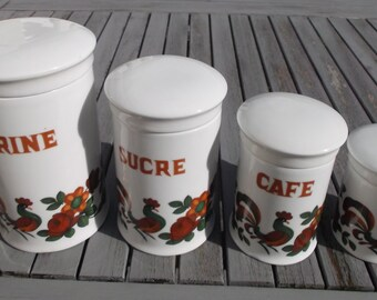set of 4 kitchen canisters love Limoges porcelain spice jars - french kitchen canisters