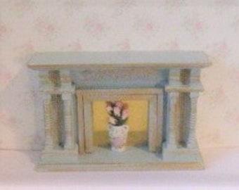 Dollhouse fireplace, blue fireplace, bedroom fireplace, fireplace with flowers, a dollshouse miniature in twelfth scale