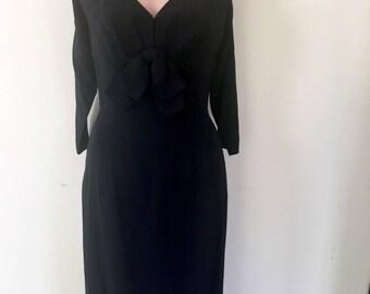 1950s Black Wiggle Dress