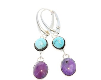 SUGILITE and Dry Creek TURQUOISE EARRINGS Sterling Leverback NewWorldGems