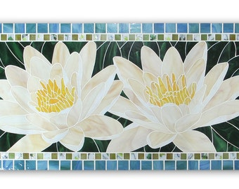 Water Lilies stained glass mosaic wall panel