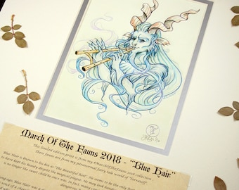 Blue Hair Story Edition- MarchOfTheFauns 2018 Limited Edition Double Matted Faun Print with Story Scroll