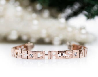 Mother's Bracelet, Custom Bracelet, Personalized Bracelet, Name Bracelet, 14K Rose Gold Bracelet, Rose Gold