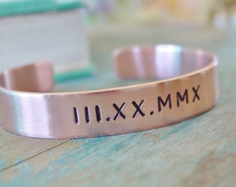Anniversary Gifts For Women, Roman Numeral Bracelet, Copper 7th Anniversary Gift, Personalized Date, Copper Wife Gift, Roman Numeral Jewelry