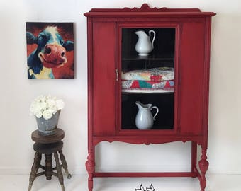 SOLD 1930s Jacobean Style China Cabinet Red Dining Room Furniture Entryway