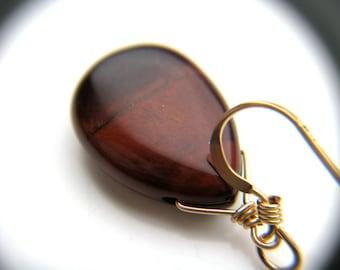 Red Tiger Eye Earrings Gold . Nature Inspired Jewelry . Gemstone and Gold Drop Earrings . Tigers Eye Teardrop Earrings