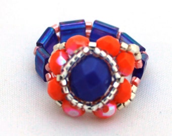 Czech Fire Polished Woven Ring in Cobalt Blue and Coral