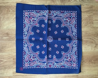 Vintage Navy Blue, Red and White Bandana