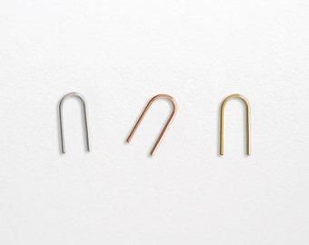 Nu Arc Line Earrings - Sterling Silver, Gold Earrings - U Shaped Earrings - Open Hoop - Simple Minimalist Everyday Jewelry LITTIONARY