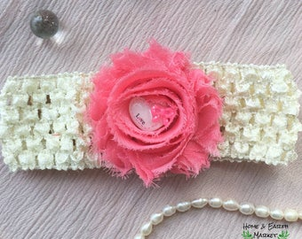 Baby Toddler Crochet Shabby Flower Headband