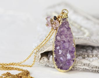 Amethyst Druzy Necklace - Amethyst Pendant - Diamond & Amethyst Cluster Necklace - April / February Birthstone - Druzy Stone Necklace