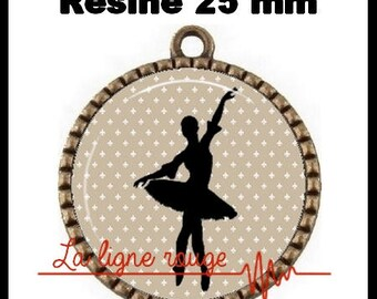 Bronze pendant round Cabochon 25 mm epoxy resin - Ballet Dance (1013) - dancer, Ballet