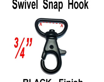 """10 PIECES - 3/4"""" - METAL Swivel Trigger Snap Lobster Claw Hook, 3/4 inch, 19.05mm, Purse Strap Clip, BLACK Finish"""