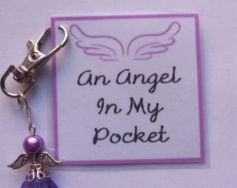 Angel In My Pocket Keyring - Angel GiBag Charm - Angel In My Pocket - Angel Keyring - Angel Charm - Angel - Guardian Angel - Gift For Her -