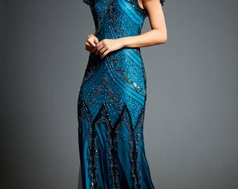 Evelyn Blue Beaded Flapper Dress, 20s Great Gatsby Inspired, Downton Abbey, Blue Formal Wedding Maxi, Long Evening Gown, Plus Size, S-XXXXL