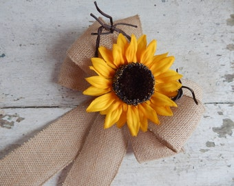 Sunflower Wedding, Burlap Pew Bows, Country Wedding, Pew Bows, Rustic Wedding, Wreath Bow, Summer Weddings, Church Aisle Markers, Gift Bows