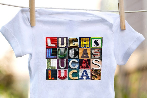 Personalized baby bodysuit featuring the name lucas showcased personalized baby bodysuit featuring the name lucas showcased in photos of letters from signs baby gift baby shower negle Choice Image