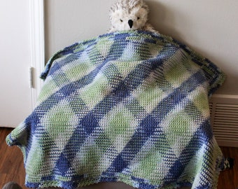 Adorable Blue and Green crochet baby blanket