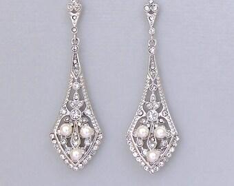 Crystal Bridal Chandelier Earrings, Vintage style Crystal & Pearl Bridal Earrings, Deco Bridal Accessories, Wedding Jewelry, EMILY