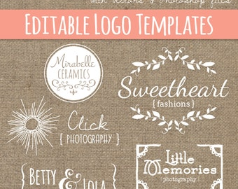 Pretty Logo Design Templates Set 6 // Instant Download // Photoshop PSD EPS // Hand Drawn // Fashion Photogrpahy Design // Commercial Use