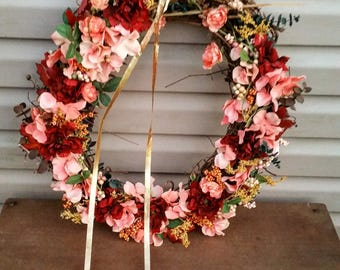Pink and Maroon Grapevine Wreath