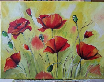 Poppies oil painting, Poppy Painting, Red Poppy Original Oil Painting, Canvas Art Romantic Painting, Floral Art, Red Poppy Flower,