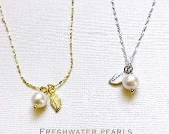 Gold over Sterling Silver, pearl  necklace, Freshwater pearl necklace, Genuine pearl necklace, Bridesmaid jewelry, leaf necklace
