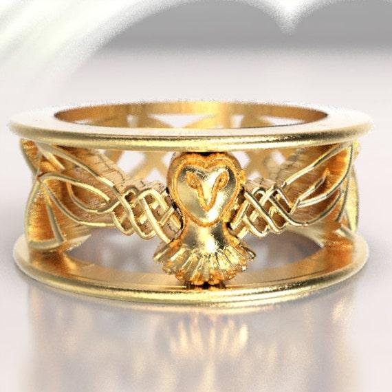 Celtic Owl Wedding Ring, Gold Wedding Band, Gold Owl Ring, Unique Wedding Ring,  Barn Owl, 10K 14K 18K Gold, Palladium or Platinum 1016
