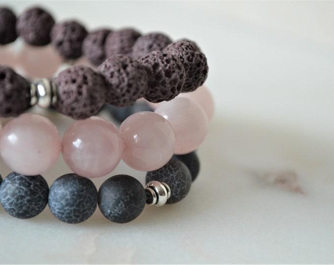 Set of 3 natural gemstone bracelets, rose quartz bracelet, brown lava stone bracelet, crackle black agate bracelet, gift for her, gemstone