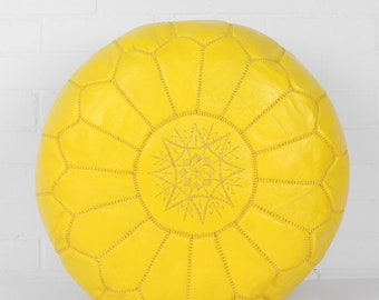 Moroccan Handmade Leather pouf floor pouf Leather Ottoman Moroccan Ottoman Yellow