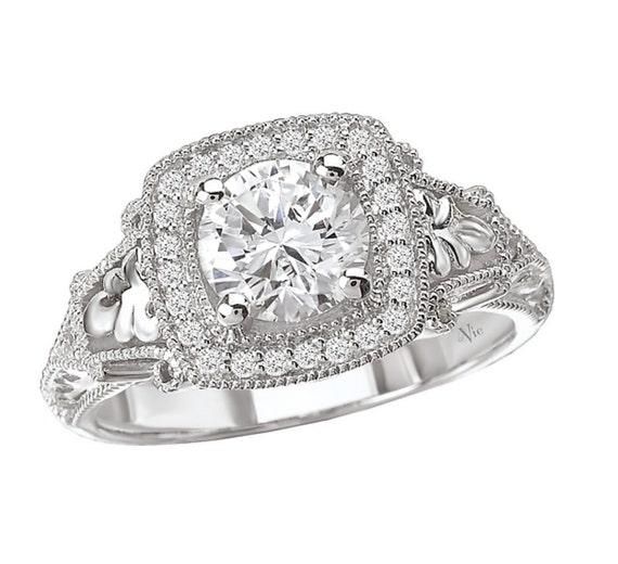 14KT White Gold CANDY Halo Diamond Engagement Ring Setting Semi-Mount
