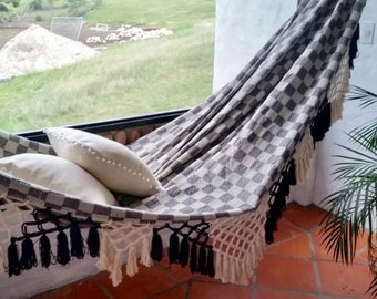 Black and White Hammock, double size. Luxury woven. Soft Cotton hammock Bell Fringe, modern decoration