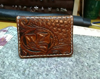 Hand tooled leather card wallet