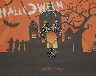 Cute Antique Silver Spider Web Halloween Charm Necklace and Earrings