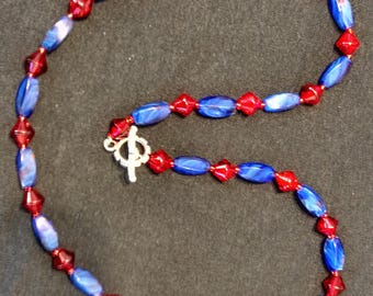 Blue swirl glass & Ruby red