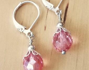 Czech Glass drop earrings Pink earrings faceted Czech glass jewelry Pink earrings Pink Bridesmaid jewelry Pink bridal Jewelry Prom jewelry