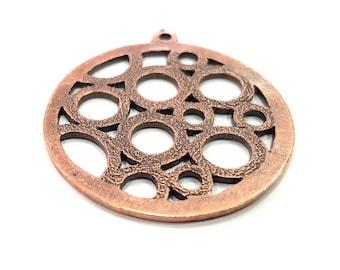 2 Copper Pendant Antique Copper Pendant Antique Copper Plated Metal (35mm) G11521