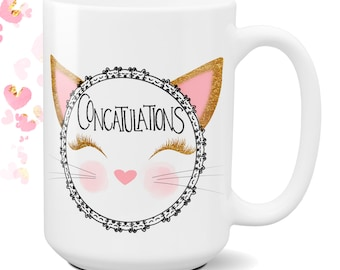 Concatulations, Best Friend Coffee Cup, Birthday Gift, Cat Lover Cup, Congratulations, Graduation, New Job Gift, Personalized Cat Mug
