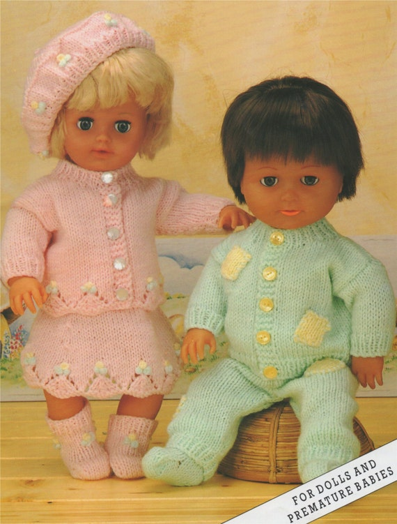 Dolls Clothes Pdf Knitting Pattern 12 16 And 20 Inch Baby Dolly
