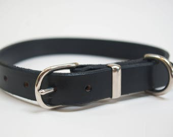 Leather dog collar hand stitched black brass nickel plated fittings