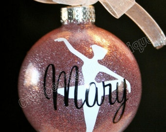 Gift idea for Dancer / Dance Recital. Personalized Dancer Glitter Ornament, Glass