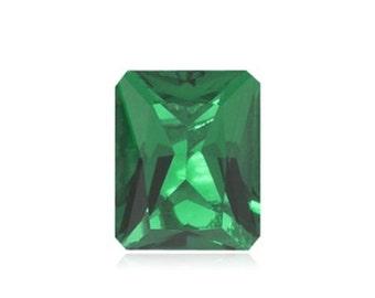 Lab-Created Hydrothermal Emerald Green Octagon Radiant cut Loose stone (4x2mm-18x13mm)