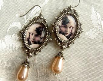 Lillian Gish Earrings - Silent Film - Pink Pearl Earrings - Shabby Pink Earrings - Flapper Earrings - Art Deco Earrings - Pink black earring